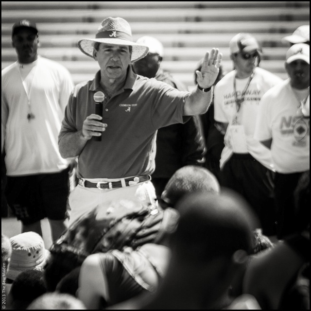 Alabama coach Nick Saban addresses participants at the conclusion of the 2013 Roll Tide Camp.